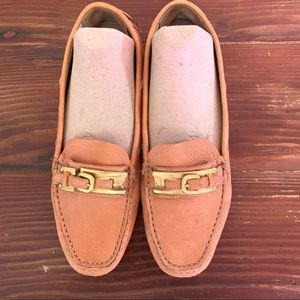 Prada Leather loafers Gold buckle toe